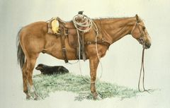 """Charlie and Ol` Yeller"" - 21 x 16 Original Watercolor"