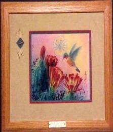 """Hummer and Hedgehogs"" - Original Scratchboard (Framed) 16"" x 19"""
