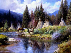"""Camp Along The River"" - 22 x 58 Limited Edition Print (Framed)"
