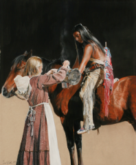 """""""Coffee at the Uncompahgre"""" - 14x17 by Julie Kramer Cole"""