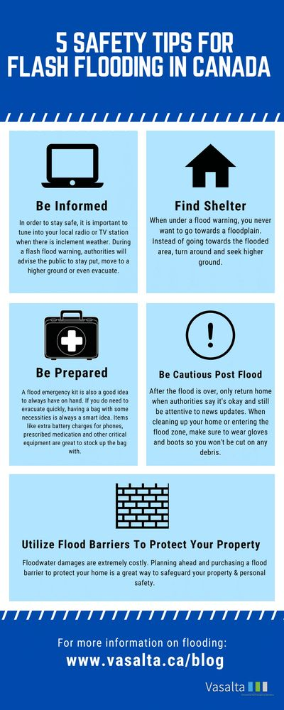 5 Safety Tips for Flash flooding infographic Vasalta