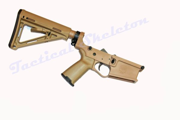AR-10 308, 6.5 Creedmoor Complete Billet Lower Receiver FDE TAN with HOGUE Furniture