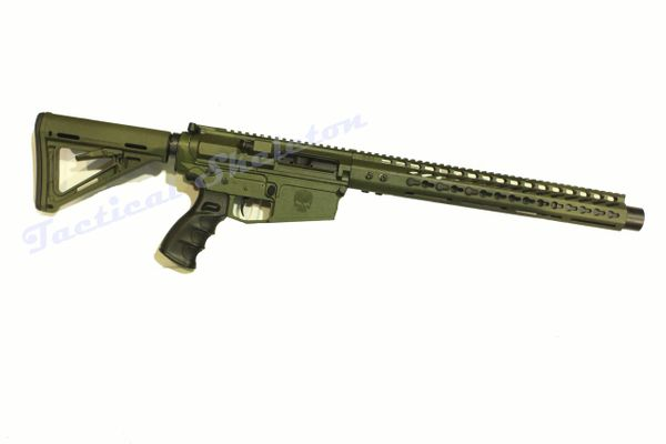 "20"" 308 OD Green Custom AR-10 with HOGUE Furniture and 16.5"" Free Float Keymod Handguard"