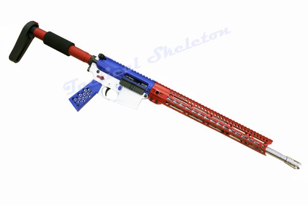 """18"""" AR-15 223 Wylde Stainless RED WHITE BLUE Custom American Flag"""