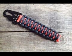 Paracord Keychain 550 Tactical Clip Black Orange Strings Heavy Duty Steel Hook