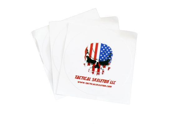 "Tactical Skeleton 3"" Decals (set of three) USA Flag White Background"