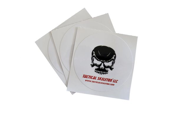 "Tactical Skeleton 3"" Decals (set of three)White Background"