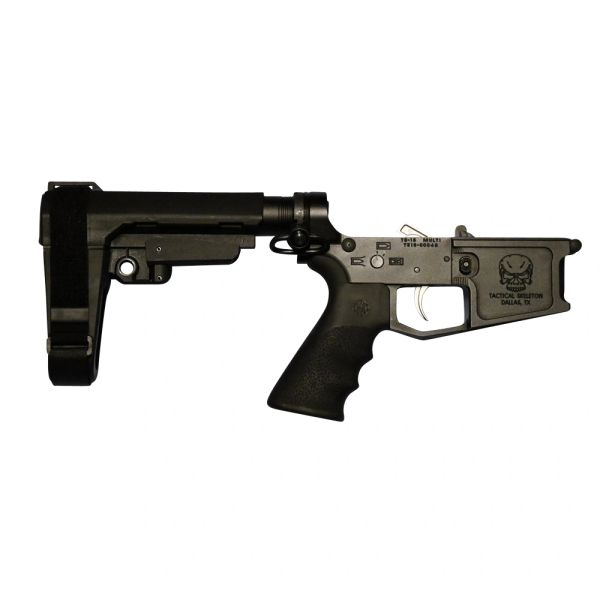 Tactical Skeleton Billet AR15 PISTOL COMPLETE LOWER SBA3