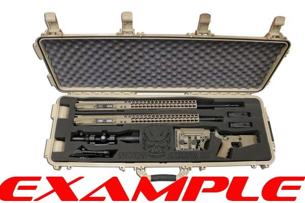 "DESIGN YOUR OWN 44"" LARGE RIFLE Waterproof Hard Case with Custom Laser CUT Foam inserts BLACK / FDE"