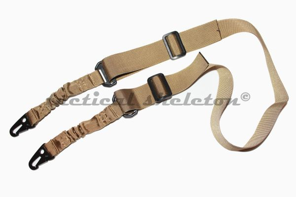 Tactical one or two point rifle sling w quick detach hooks FDE TAN