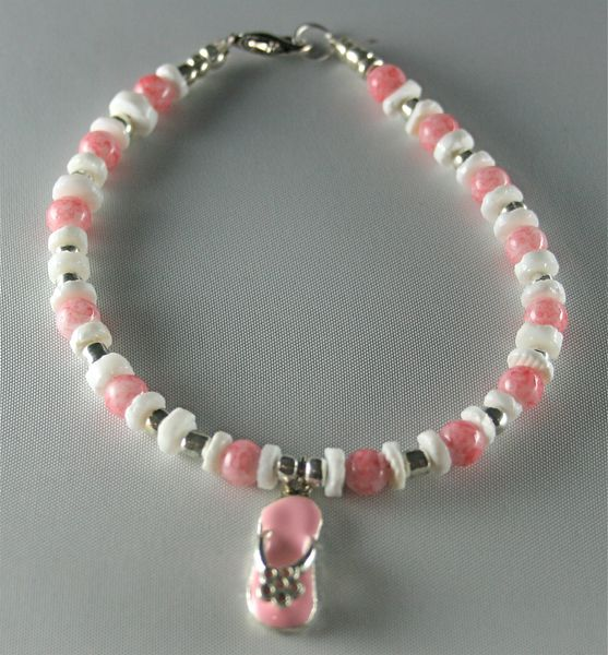 white and silver miracle bead anklet Baby pink