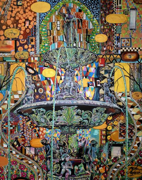 """Fountain Square a la Klimt"" SOLD"