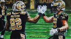 Benjamin Watson #82 And Josh Hill #89 High5