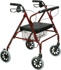 Bariatric 4 Wheel Rollator Go-Lite Red Oversized Steel