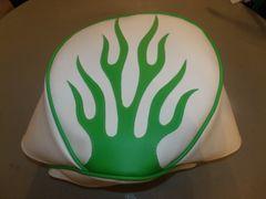 Baja Warrior Heat Mini Bike Seat Upholstery White With Lime Green Flames
