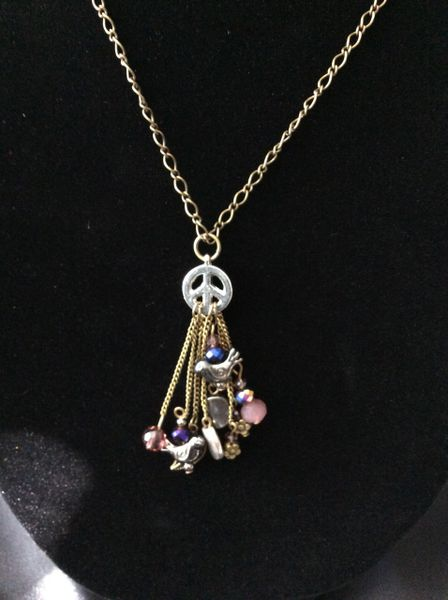 """Cute charms on this peace sign, 30"""" chain"""