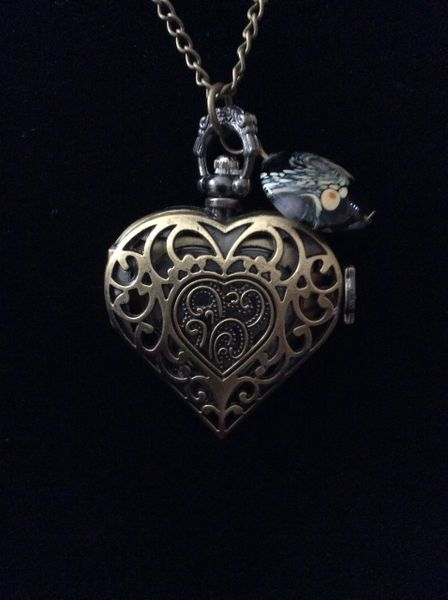 Heart watch necklace