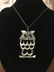 "Owl necklace on a 30"" chain"