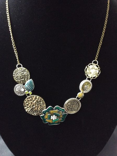 """Green and bronze on a 30"""" bronze chain"""