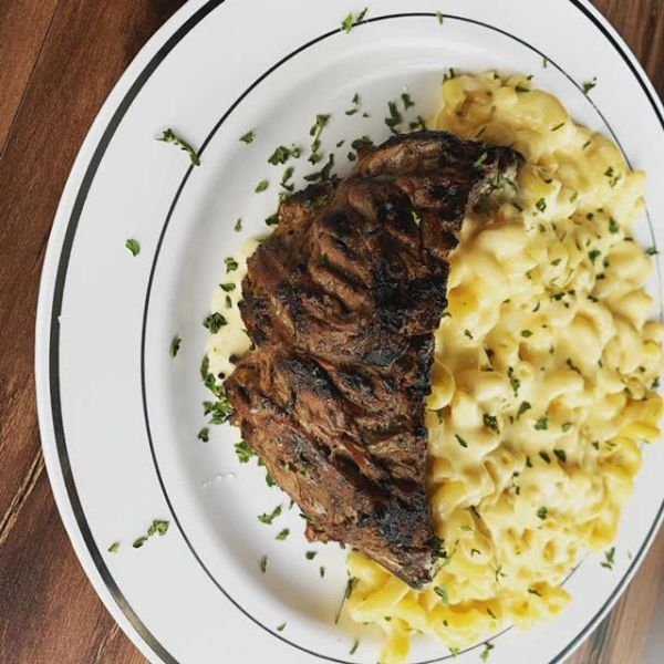 Mac & Cheese over Steak