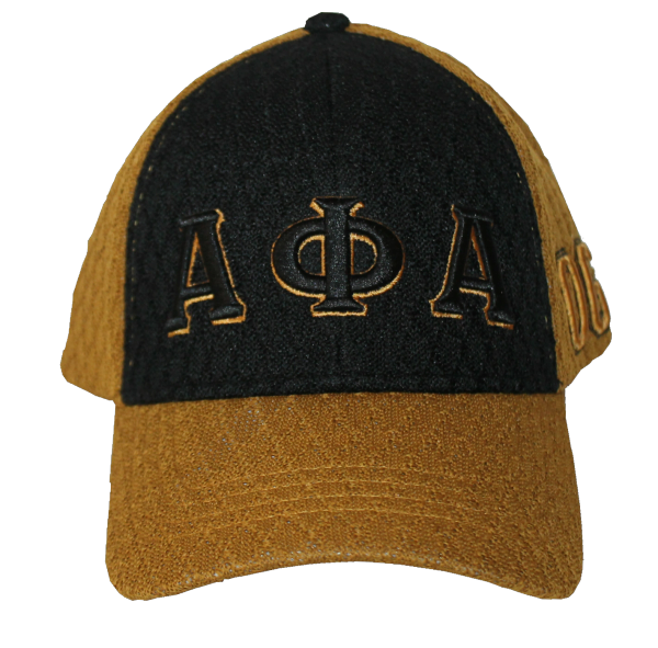 Alpha Phi Alpha Grand Series Old Gold and Black Greek Letters Cap