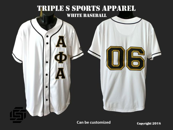 quality design c7869 cec58 Alpha Phi Alpha Embroidered White Baseball Jersey