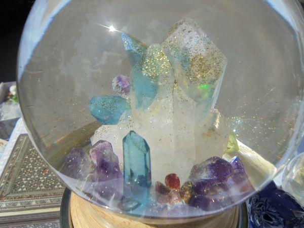 Music box Large -The Cool Blue Opal and Aqua Aura.,Real Gems.
