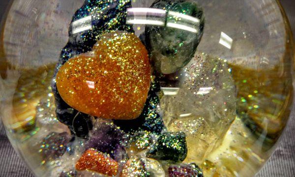 Heart Globe lots of gems .