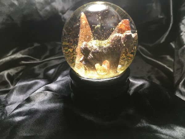 Onyx unicorn with tangerine quartz