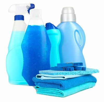 Various assortments of detergents, liquid softeners, and other laundry products