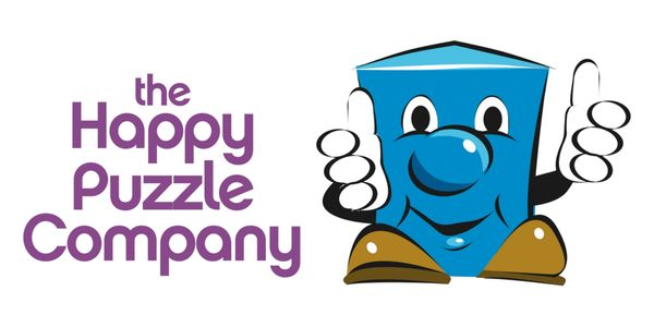 "Logo ""Happy Puzzle Company"" which includes fun, STEM, logic thinking games for family & kids play"