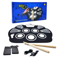Rock And Roll It Classic Drum. Black & white, portable & flexible silicone electric drum pad, pedals