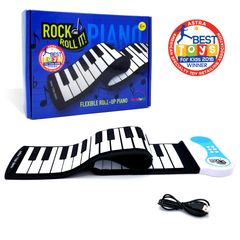 Rock And Roll It Classic Piano. Portable silicone black & white 49-key keyboard & USB/Battery power