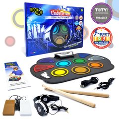 Rock And Roll It CodeDrum. Portable & flexible drum pad, headphones, pedals, play-by-color songbook