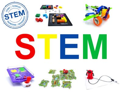 STEM toys & games show STEM logo and MUKIKIM's products Genius Square, The Brain Train & Tracerbot