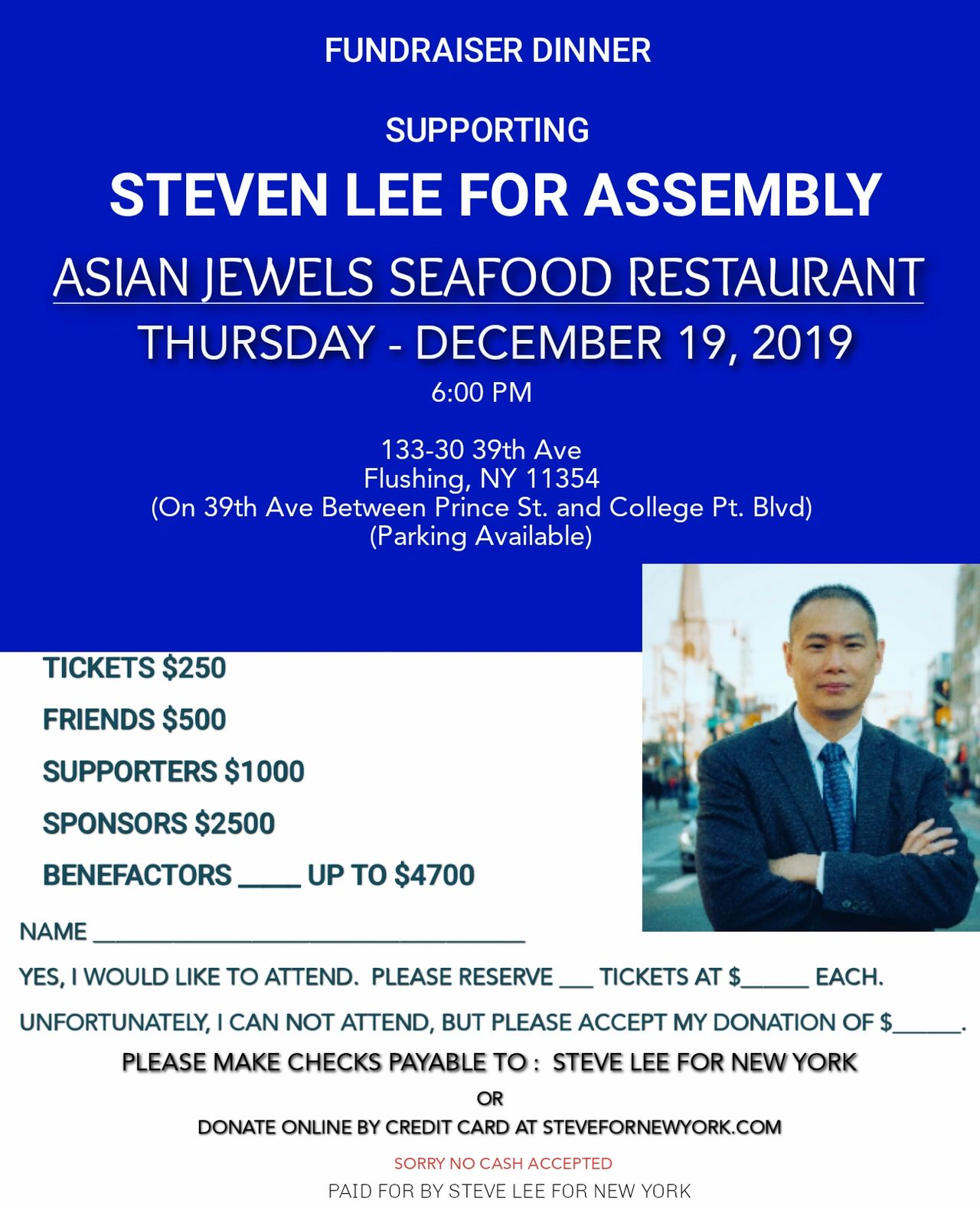 Fundraiser Dinner December 19th, 2019