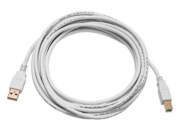 Cable - USB 2.0 A Male to B Male 28/24AWG Cable (Gold Plated) - WHITE, 10ft