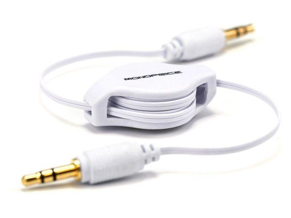 Audio - 2.5ft Retractable 3.5mm Audio Cable - White