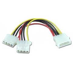 Adapter - Molex (5.25 Male) / Molex(2X 5.25 Female) Power Splitter Cable - 8in