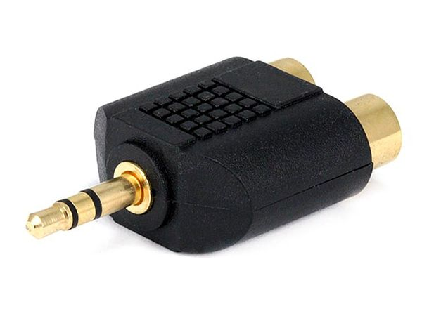 Adapter - 3.5mm Stereo Plug to 2 RCA Jack Splitter Adaptor - Gold Plated