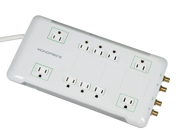 Power Surge Protector with Sliding Safety Covers, 10 Outlet - 2880 Joules