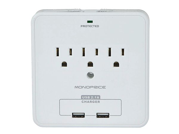 Power Surge Protector 3 Outlet Wall Tap with 2 USB Ports and Phone Holder - 540 Joules