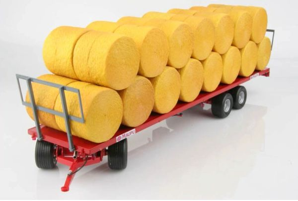 REPLICAGRI 1:32 SCALE MAUPU PM1180/200 FLAT BED BALE TRAILER WITH BALES