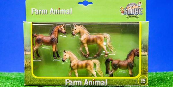 KIDS GLOBE 1:32 SCALE 4 PACK OF HORSES 570013