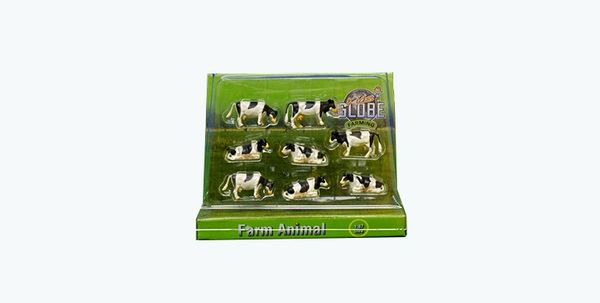 KIDS GLOBE 1:87 SCALE 8 PACK OF BLACK AND WHITE CATTLE 571878