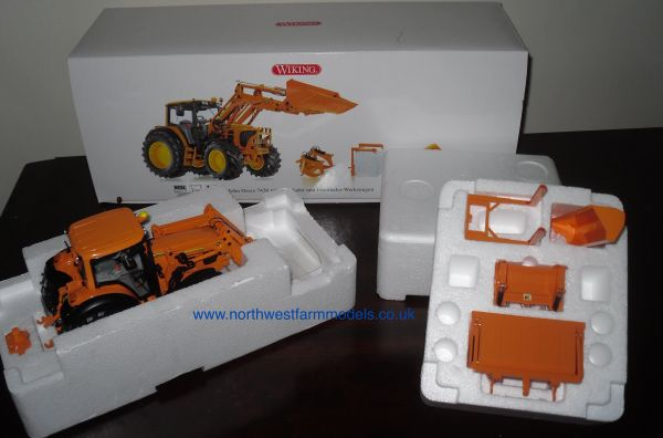 Wiking 1/32 John Deere 7430 With 753 Front Loader And Attachments (ORANGE)