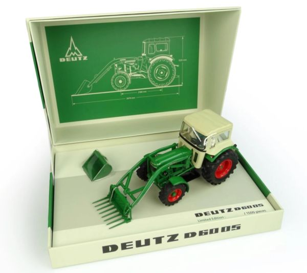 UNIVERSAL HOBBIES 6200 1:32 SCALE DEUTZ D6005 4WD WITH CAB AND FRONT LOADER WITH TWO ATTACHMENTS