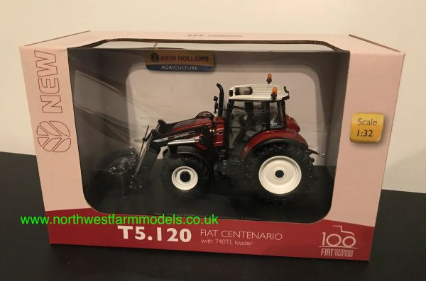 """UNIVERSAL HOBBIES 6206 1:32 SCALE NEW HOLLAND T5.120 """"CENTENARIO"""" WITH FRONT LOADER"""