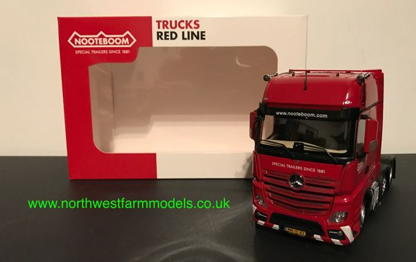 MARGE MODELS 1:32 SCALE MERCEDES BENZ ACTROS GIGASPACE 6X2 RED NOOTEBOOM EDITION