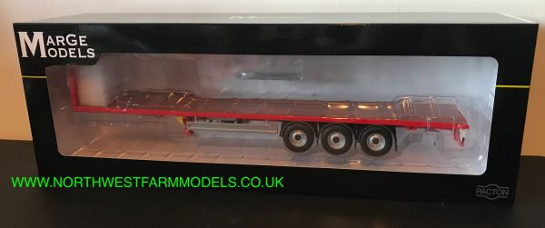 MARGE MODELS 1:32 SCALE PACTON FLATBED TRAILER WOODEN FLOOR - RED